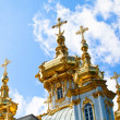 The domes with crosses Grand Palace Peterhof, Petrodvorets, Saint-Petersburg, Russia — Stock Photo #12406827