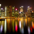 A view of Singapore business district in the night time with water reflections. — 图库照片