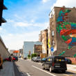 Stock Photo: Graffiti murals Cock by artist Aryz (Spain) created of Katowice Street Art Festival