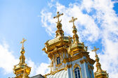The domes with crosses Grand Palace Peterhof, Petrodvorets, Saint-Petersburg, Russia — Stock Photo