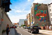 Graffiti murals The Cock by artist Aryz (Spain) created of the Katowice Street Art Festival — Stock Photo