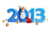 Pupazzi di neve felice nuovo anno 2013 su sfondo bianco