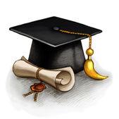 Zeichnung der Graduation Cap und Diplom