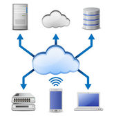 Cloud Computing Concept Server database and laptop connected to cloud computing network