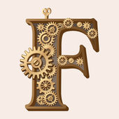 Mechanical alphabet made from gears Letter f
