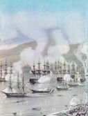 Battaglia di sinop.detail di incisioni colorate di a.bogoliubov. stampe xix secolo