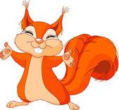 Illustration of cute Squirrel raising his hands