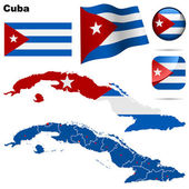 Cuba vector set Detailed country shape with region borders flags and icons isolated on white background