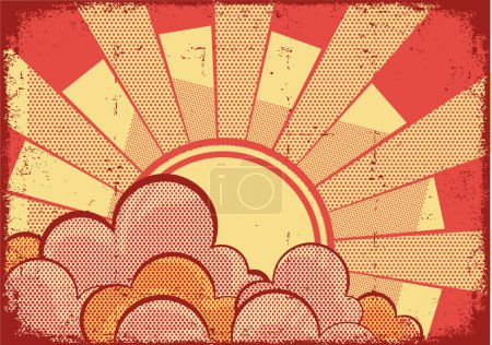 Постер, плакат: Cartoons grunge background with sunlight on grunge texture, холст на подрамнике