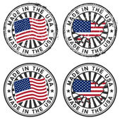 Stamp with map flag of the USA Made in the USA Two forms: grunge and tidy