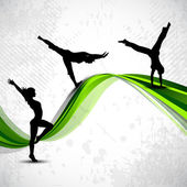 Gymnastic artistic girl on abstract background with green shiny waveVector illustration Eps 10