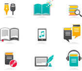 Collection of E-book audiobook and literature icons