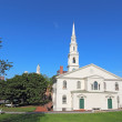 Постер, плакат: The First Baptist Church and partial skyline of Providence RI