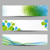 Set of abstract banners with green and blue pattern