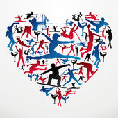 Action sports silhouettes in heart love shape Vector file layered for easy manipulation and customisation