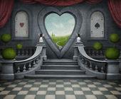 Fondo fantástico y la puerta del corazón