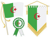 Algeria flag rosette and pennant isolated on white