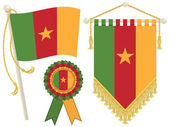 Cameroon flag rosette and pennant isolated on white