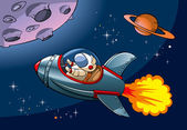 Spaceship with astronaut approaching a planet vector illustration