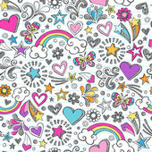 Seamless Pattern Hearts Rainbow and Butterfly Doodles- Back to School Sketchy Notebook Design- Hand-Drawn Vector Illustration Background