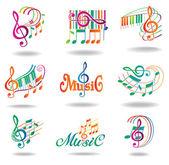 Barevné hudby poznámky. sada prvků návrhu hudby nebo ikony