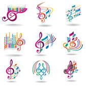 Színes zenei jegyzetek. zene design elemek vagy ikonok