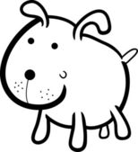 Cartoon illustration of cute dog or puppy for coloring book