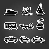 Set transportation icons stickers