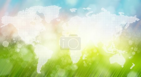 World map against beautiful blurred morning landscape background