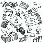 An image of a financial symbol doodle set