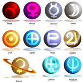 An image of a 3D planets with symbols