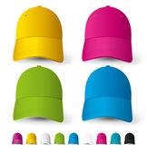 Vector baseball caps big set of different colors