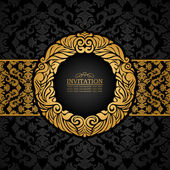 Abstract background with antique, luxury black and gold vintage frame, ornate banner, damask floral wallpaper ornaments, invitation card, baroque style booklet, fashion pattern, template for design