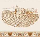 Ročník vína label pozadí s náčrt starého zámku, krajina s vesnicí a vinice, hrozny květinová ozdoba pro dekorace a design