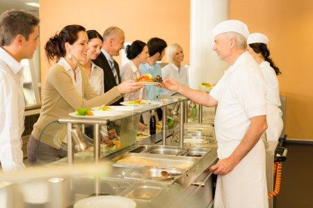 Постер, плакат: Office woman in canteen cook serve meals, холст на подрамнике