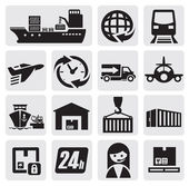 Vector black shipping and cargo icons set on gray