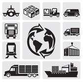 Vector black logistic & shipping icon set