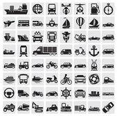 Vector black big transportation icon set on gray