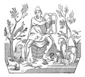 Orpheus attracting wild animals to the sound of his lyre vintage engraved illustration Dictionary of words and things - Larive and Fleury - 1895