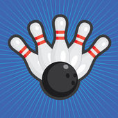 Five bowling skittles and ball on the colored abstract background
