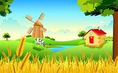 Illustration of landscape of golden wheat farm showing green revolution