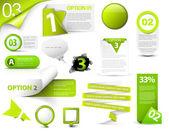 Set of green vector progress version step icons