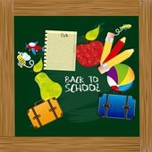 Illustration back to school with school elements on board vector illustration