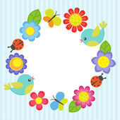 Frame with flowers birds ladybugs and butterflies
