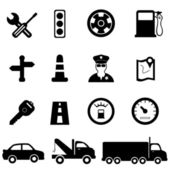 Driving road and traffic icon set