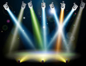 Dramatic multicolored lights like those on a dance floor in a disco or used in a stage light show