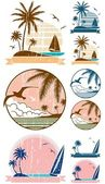 Set of 3 beach symbols + 6 additional versions (2 for each symbol) No transparency and gradients used
