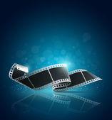 Camera film roll blue background vector illustration