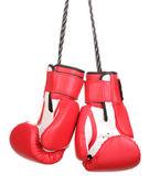 Rote Boxhandschuhe hängen isoliert