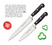 Řezbářské nože Eps10 dva kuchař kuchyně